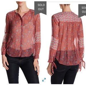 Rebecca Taylor Amanda Long Sleeve silk print top